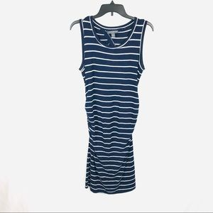 A pea in the pod navy striped maternity dress